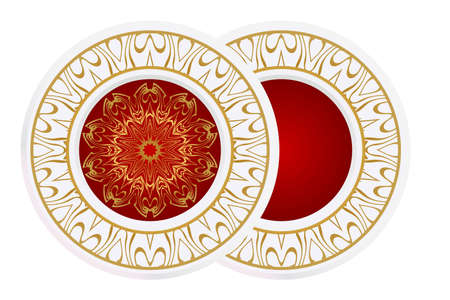 decorative plates for interior design. Empty dish, porcelain plate mock up design. Vector illustration. Decorative plates with Mandala ornament patterns. Home decor background. circle medalion, colorful kitchen