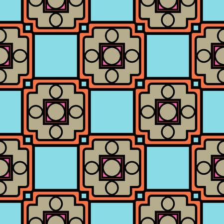 Modello senza cuciture decorativo di colore con ornamento geometrico. Illustrazione vettoriale.