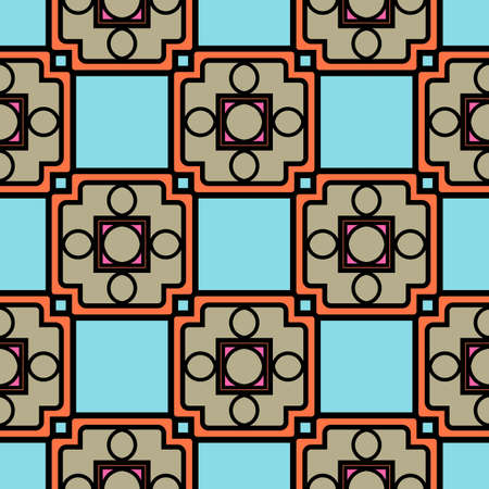 Patrón transparente decorativo de color con ornamnet geométrico. Ilustración de vector.