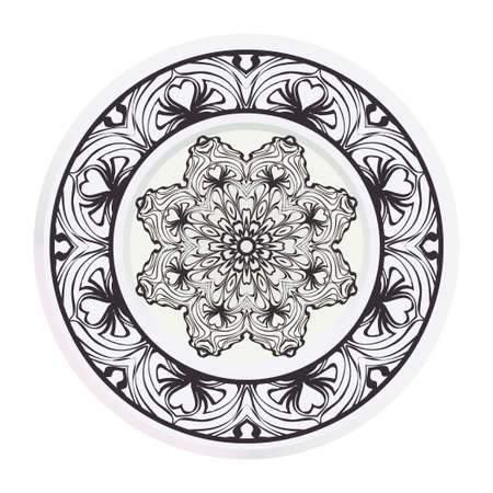 Decorative round plate with mandala from floral elements. Vector illustration. Home decor, interior design. matching decorative plates for interior design.