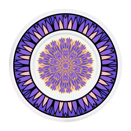 Creative round frame and floral mandala. Vector illustration. Illusztráció