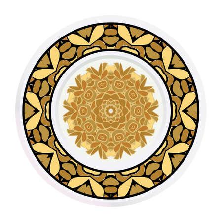 Decorative plates for interior design. Tribal ethnic ornament with mandala. Vector illustration. White, gold color.