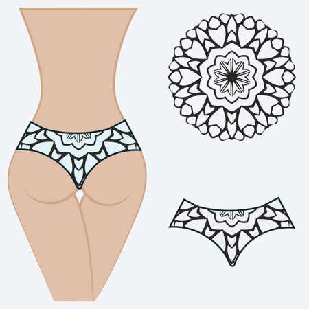 erotic womens panties. vector illustration. gift floral print