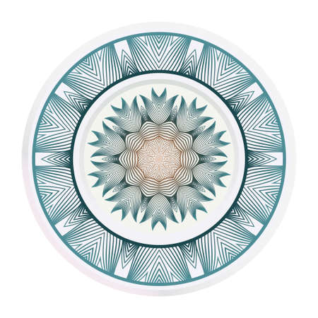 Plates for interior design. Porcelain plate with mandala ornament. Vector illustration. Isolated. Round geometric floral pattern. Interior decoration, home decor element.