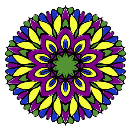 Pattern of mandala. Vector illustration. Modern Decorative floral color mandala. Decorative Cicle ornament. Floral design. Anti-stress therapy pattern