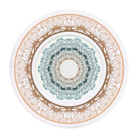matching decorative plates. Decorative mandala ornament for wall design. Vector illustration.