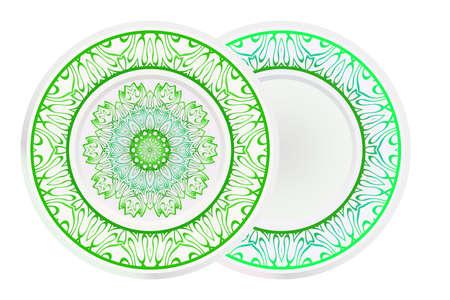 Set of two round decoration frame and Sacred Oriental Mandala. Floral Ornament. Vector Illustration.