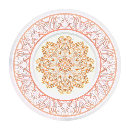Creative round ornament with mandala. Vector illustration. For kitchen decoration.