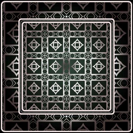Fondo, patrón geométrico con marco de encaje adornado. Ilustración. Para estampado de bufanda, tela, fundas, scrapbooking, bandana, pareo, chal. Plata. color gris oscuro, color verde.