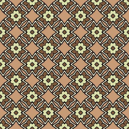Abstract Vector Seamless Pattern With Abstract Geometric retro Style. Repeating Sample Figure And Line. For Modern Interiors Design, Wallpaper, Textile Industry. Brown, light olive color. Ilustrace