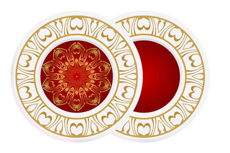 Matching decorative plates for interior design. Empty dish, porcelain plate mock up design. Vector illustration.