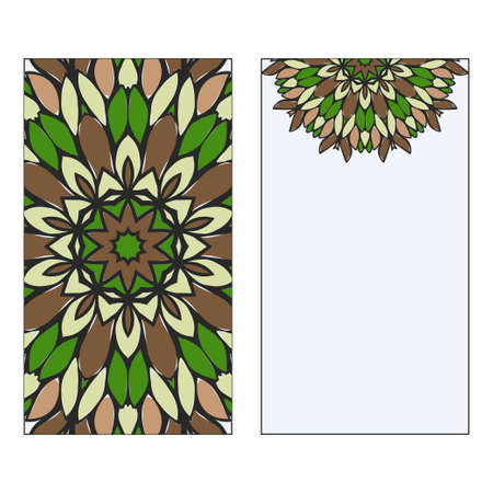 Ethnic Mandala Ornament. Templates invitation card With Mandalas. Floral decoration. Vector illustration/ Green, brown color. Card Design For Banners, Greeting Cards, Gifts Tags Standard-Bild - 133971421
