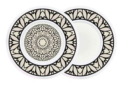 Matching decorative plates for interior designwith floral art deco pattern. Empty dish, porcelain plate mock up design. Vector illustration. White, grey color. Illusztráció