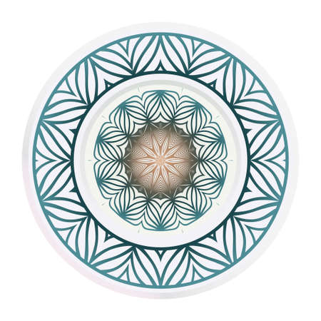 Decorative plates with Mandala ornament patterns. Home decor background. Vector illustration.