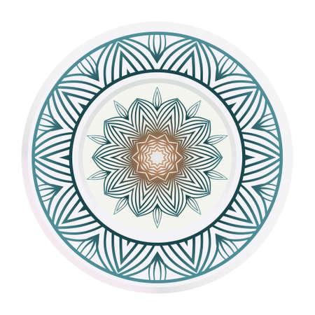decorative plates for interior design. Empty dish, porcelain plate mock up design. Vector illustration. Decorative plates with Mandala ornament patterns. Home decor background. circle medalion, colorful kitchen