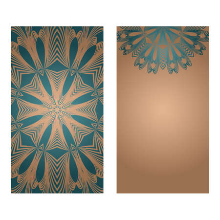 Card Template With Floral Mandala Pattern. Business Card For Fitness Center, Sport Emblem, Meditation Class. Vector Illustration Standard-Bild - 133972391