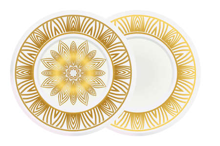 floral ornament plate for wall desight. vector illustration. Illusztráció