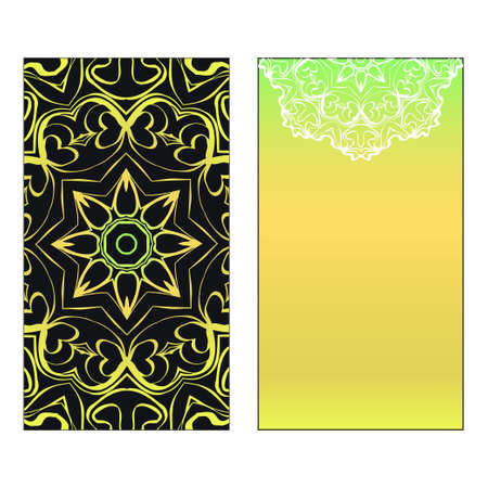 Vector template for inviatation card. Patterns with decorative round floral mandala.