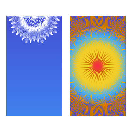 Yoga Card Template With Mandala Pattern. Vector illustration. Blue, yellow, white color. For Visit Card, Business, Greeting Card Invitation. Islam, Arabic, Indian, Mexican Ottoman Motifs Standard-Bild - 133972591