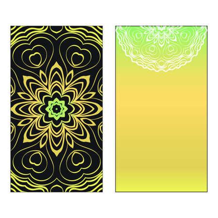 Vector template for inviatation card. Patterns with decorative round floral mandala. Reklamní fotografie - 133972661
