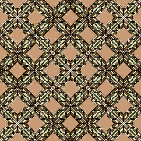 Abstract Vector Seamless Pattern With Abstract Geometric retro Style. Repeating Sample Figure And Line. For Modern Interiors Design, Wallpaper, Textile Industry. Brown, light olive color. Reklamní fotografie - 133972667