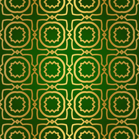 Luxury Seamless Geometrical Linear Texture. Original Geometrical Puzzle. Backdrop. Vector illustration. Green gold color. Design For Prints, Textile, Decor, Fabric Ilustrace