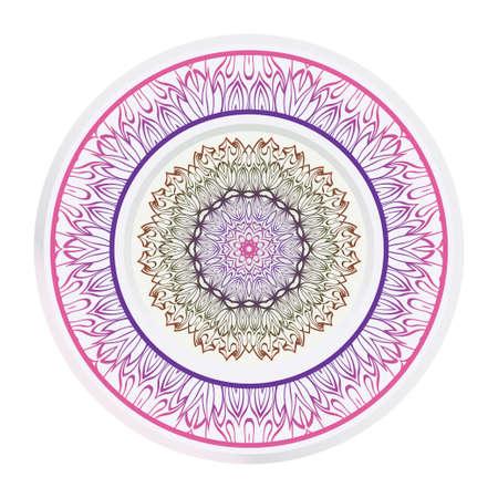 Decorative round ornament. Frame decoration with floral mandala. Vector illustration. Ilustrace
