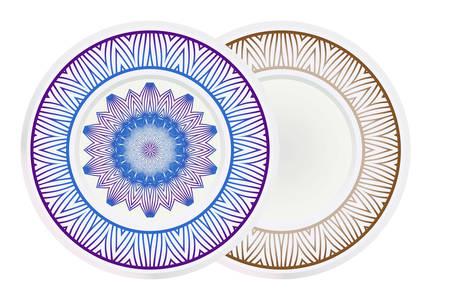 Vector set of two round frame and floral mandala ornament. For kitchen decoration, fashion print. Illusztráció