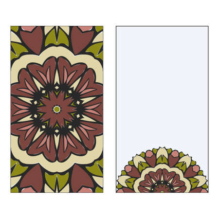 Vintage Card With Patterns Of The Mandala. Floral Ornaments. Islam, Arabic, Indian, Ottoman Motifs. Template For Flyer Or Invitation Card Design. Vector Illustration. 일러스트