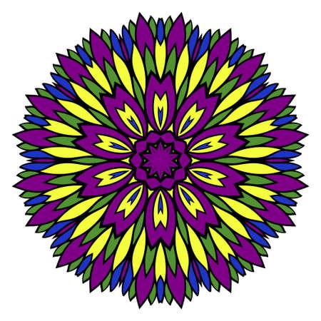 Pattern of mandala. Vector illustration. Modern Decorative floral color mandala. Decorative Cicle ornament. Floral design. Anti-stress therapy pattern