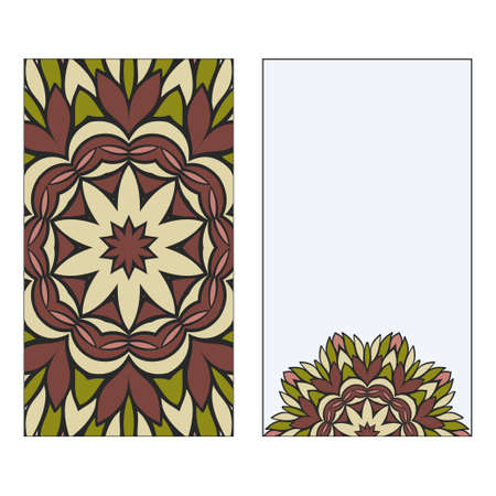 Card Template With Floral Mandala Pattern. Business Card For Fitness Center, Sport Emblem, Meditation Class. Vector Illustration