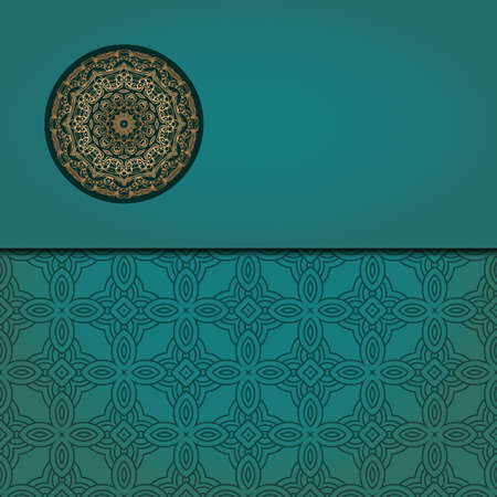 Template card with mandala. Vector. Oriental design for Christmas party invitation, Ramadan holiday, New year greeting, beauty spa salon, wedding