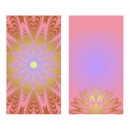 Creative invitation card template with floral round mandala. Vector illustration. Pastel color.