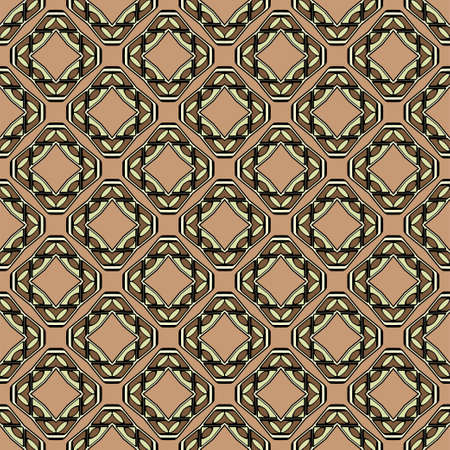 Abstract Vector Seamless Pattern With Abstract Geometric retro Style. Repeating Sample Figure And Line. For Modern Interiors Design, Wallpaper, Textile Industry. Brown, light olive color.  イラスト・ベクター素材