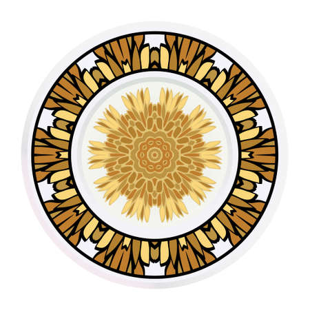 Decorative plates for interior design. Tribal ethnic ornament with mandala. Vector illustration. White, gold color.