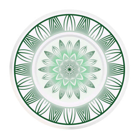 Creative round border and floral mandala ornament. Vector illustration.  イラスト・ベクター素材
