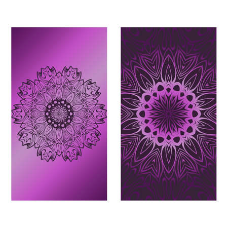 Decorative Template Card with Round Mandala From Floral Elements. Vector Illustration. For Coloring Book, Greeting Card, Invitation. Anti-Stress Therapy Pattern.