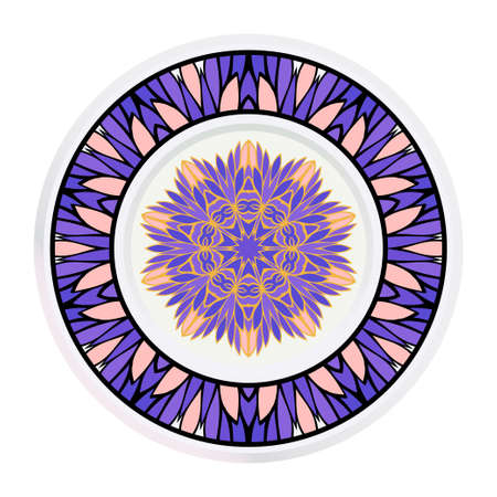 Creative round frame and floral mandala. Vector illustration.  イラスト・ベクター素材
