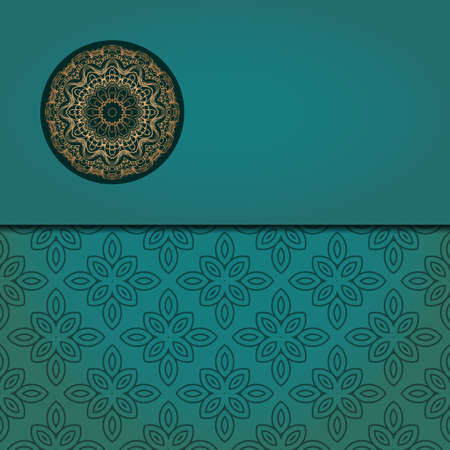 Template card with mandala. Vector. Oriental design for Christmas party invitation, Ramadan holiday, New year greeting, beauty spa salon, wedding