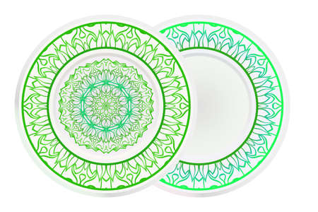 Set of two round decoration frame and Sacred Oriental Mandala. Floral Ornament. Vector Illustration.
