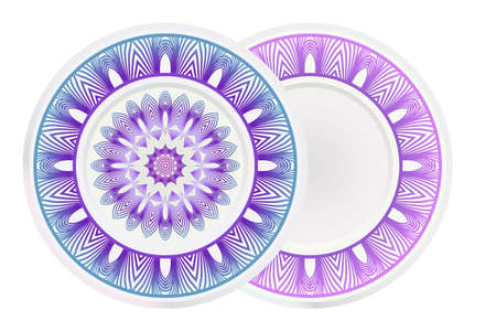 Set of two round ornament with decorative mandala. Vector illustration.  イラスト・ベクター素材