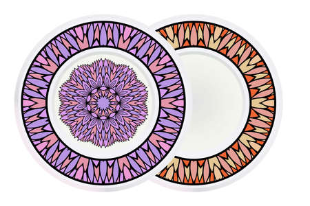 Set of two round decoration frame and mandala ornament. vector illustration.  イラスト・ベクター素材