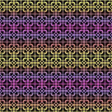Color seamless geometric pattern with dark background. Vector illustration.  イラスト・ベクター素材