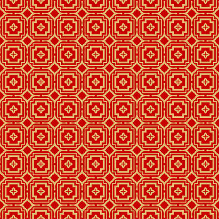 Modern Stylish Geometry Seamless Pattern Art Deco Background. Luxury Texture For Wallpaper, Invitation. Vector Illustration. Red gold color.  イラスト・ベクター素材