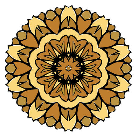 Oriental Mandala. Vintage Decorative Elements. Vector illustration. Golden color. For Coloring Book, Greeting Card, Invitation, Tattoo. Anti-Stress Therapy Pattern  イラスト・ベクター素材