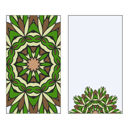 Ethnic Mandala Ornament. Templates invitation card With Mandalas. Floral decoration. Vector illustration/ Green, brown color. Card Design For Banners, Greeting Cards, Gifts Tags