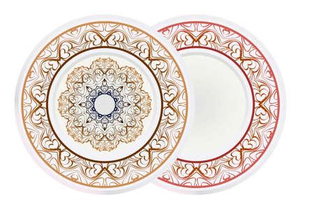 Set of round floral frame and mandala ornament. Vector illustration Illusztráció