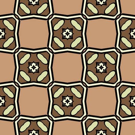 Abstract Vector Seamless Pattern With Abstract Geometric retro Style. Repeating Sample Figure And Line. For Modern Interiors Design, Wallpaper, Textile Industry. Brown, light olive color. Reklamní fotografie - 133973430