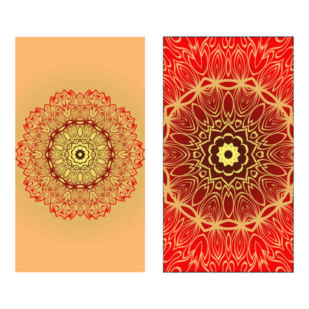 Design Vintage Cards With Floral Mandala Pattern And Ornaments. Vector illustration. Gold, red color. For Wedding, Bridal, Valentines Day, Greeting Card Invitation 일러스트