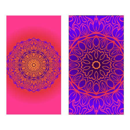 Dekorative Einladungsvorlage mit Mandala-Dekoration. Vektor-Illustration. Vektorgrafik